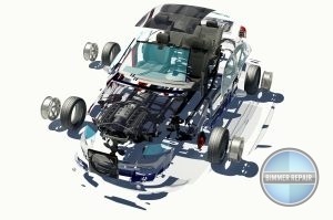 Image of disassembled car showing the different parts that make up the car.