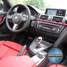 Red Interior and Shifting Panel on a BMW