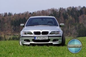 Silver BMW Parked in a Field.