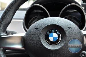 Closeup of BMW Steering Wheel