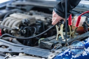 Attaching Jumper Cables to a Car Battery